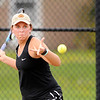 Don Knight | The Herald Bulletin<br /> Madison-Grant's Kelsey Kohlmorgen returns a volley to Alexandria's Blaine Kelly in the No. 1 singles match as the Tigers hosted the Argylls for the championship of the Madison County Tennis Tournament on Friday.