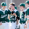 Don Knight | The Herald Bulletin<br /> Pendleton Heights' Corbin Cox bumps fists with his teammates as he is introduced before the Arabians matchup against the Anderson Indians at Memorial Field during the Nick Muller Memorial Baseball Tournament on Friday.