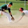 Don Knight | The Herald Bulletin<br /> Anderson's Braden Odem steals second beating the throw to Pendleton Heights' Logan Robertson at Memorial Field during the Nick Muller Memorial Baseball Tournament on Friday.