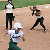 Photo by Chris Martin for The Herald Bulletin.  Madison-Grant pitcher fields a grounder Saturday against Pendleton.  Pendleton Heights defeated Madison Grant 1-0 to win the 2017 Madison County Tournament.
