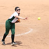 Photo by Chris Martin for The Herald Bulletin.  Pendleton pitcher Audrey Ricker flips the ball to first Saturday against Madison-Grant. Pendleton Heights defeated Madison Grant 1-0 to win the 2017 Madison County Tournament.