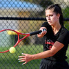 Frankton's Chainey Lowe returns a forehand shot to Gracyn Hosier of Alexandria during their #2 singles match.
