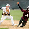 Don Knight   The Herald Bulletin<br /> Daleville's Max Stecher tags Alexandria's Brennan Morehead out at second as the Broncos hosted the Tigers on Wednesday.