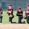 Don Knight | The Herald Bulletin<br /> From left, Alexandria outfielders Miller Abernathy, Jarrett Smalls, Cade Vernetti and Rylan Metz look on as the Tiger infield wraps up their warmup before facing the Daleville Broncos on Wednesday.