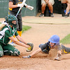 Don Knight | The Herald Bulletin<br /> Pendleton Heights catcher Jade Mollenkopf tags Carmel's Emma Morton out at home as the Arabians hosted the Greyhounds on Wednesday.