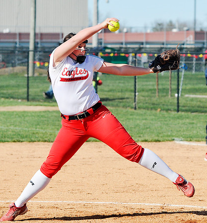 John P. Cleary | The Herald Bulletin  <br /> Frankton's pitcher Aubrey Adair lets go with another pitch against Alexandria.