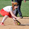 John P. Cleary | The Herald Bulletin  <br /> Frankton infielder Laikyn Lowe gathers in the ball at second base.