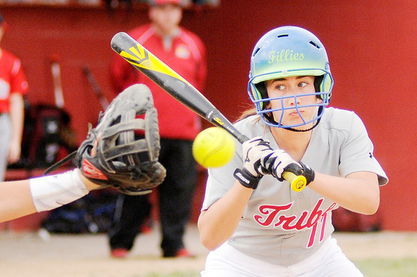 Don Knight | The Herald Bulletin<br /> Anderson's Kerrigan Huffman holds off on an outside pitch as the Indians faced the Frankton Eagles in Frankton on Wednesday.