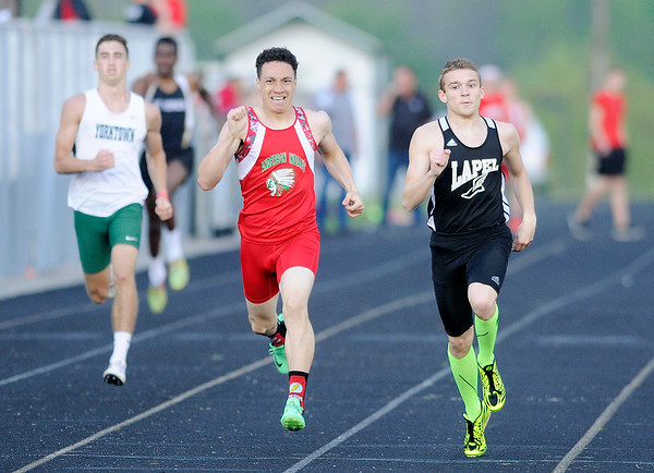 Don Knight | The Herald Bulletin<br /> Lapel's Hunter Loller wins the 400 yard dash during the Pendleton Heights Boys Track Invitational on Thursday.