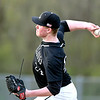 John P. Cleary | The Herald Bulletin <br /> Lapel pitcher Seth Baugh throws to the plate against Daleville Monday evening. Baugh no-hit the Broncos with only two reaching base on errors. Lapel won the game10-0.