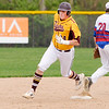 Don Knight | The Herald Bulletin<br /> Alexandria's Nick Williams rounds second as the Tigers traveled to Elwood on Tuesday.