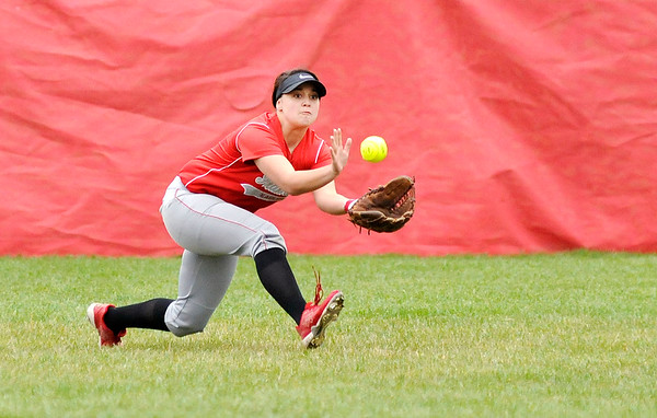 Don Knight   The Herald Bulletin<br /> Frankton's Maycee Mallernee makes a catch in the outfield as the Eagles hosted Madison-Grant on Tuesday.