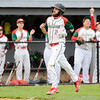 Don Knight | The Herald Bulletin<br /> The Indians dugout reacts as Brayden Waymire scores on a single by Jackson Stephenson to tie the game at 3 as Anderson hosted Marion on Wednesday.