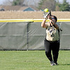 Don Knight | The Herald Bulletin<br /> Madison-Grant's Ellie Alcala catches a fly ball in the outfield as the Argylls hosted the Elwood Panthers on Thursday.