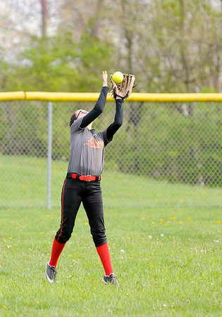 Don Knight   The Herald Bulletin<br /> Liberty Christian's Maddy Mercer catches a fly ball in the outfield as the Lions hosted Bethesda Christian School on Tuesday.