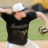 Don Knight   The Herald Bulletin<br /> Daleville's Peyton Smith throws to first after fielding the ball as the Broncos hosted Monroe Central on Wednesday.