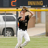 Don Knight   The Herald Bulletin<br /> Daleville's Braden Danner catches a fly ball in the outfield as the Broncos hosted Monroe Central on Wednesday.