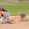 Don Knight | The Herald Bulletin<br /> Anderson's Brayden Waymire steals second base as the Indians hosted Hamilton Heights on Thursday.