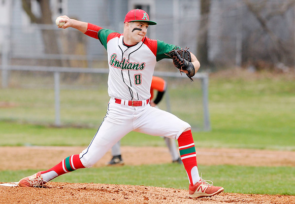 Don Knight | The Herald Bulletin<br /> Anderson's Cameron Pratt pitches for the Indians against Hamilton Heights at Memorial Field on Friday.