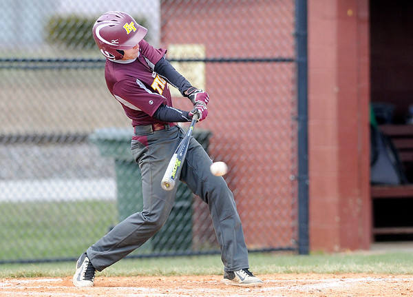 Don Knight | The Herald Bulletin<br /> Alexandria's Ryan Luzader connects for a base hit as the Tigers hosted the Clinton Central Bulldogs for a double header on Saturday.