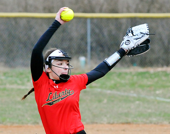 John P. Cleary | The Herald Bulletin  <br /> Liberty Christian's pitcher Alayna Thomas struck out 14 Seton Catholic batters in their win over the Cardinals 3-2.
