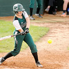 Don Knight | The Herald Bulletin<br /> Pendleton Heights' Olivia Conner connects for a base hit driving in two runners to give the Arabians an early 2-0 lead over Greenfield on Tuesday.
