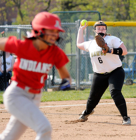 Don Knight | The Herald Bulletin<br /> Lapel's Brooke Daniels makes the throw to first after fielding a bunt as the Bulldogs hosted Anderson on Wednesday.