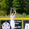 Don Knight | The Herald Bulletin<br /> Myracle Settles catches a fly ball in the outfield as Anderson hosted Lapel on Wednesday.