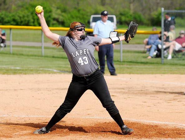 Don Knight | The Herald Bulletin<br /> Lapel freshman Chloe Bousman pitched nine innings against Anderson on Wednesday. The Bulldogs outlasted the Tribe 13-11.