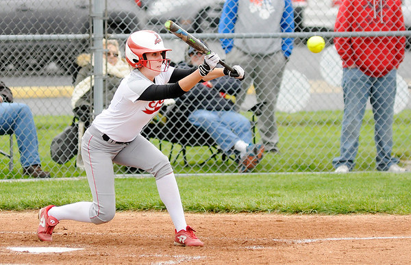 Don Knight | The Herald Bulletin<br /> Frankton's Ryann Shively lays down a bunt as the Eagles faced the Elwood Panthers in a CIC matchup on Thursday.