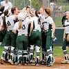 Don Knight | The Herald Bulletin<br /> Pendleton Heights celebrates Chloe Closser's home run as the Arabians hosted New Palestine on Wednesday.