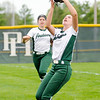 Don Knight | The Herald Bulletin<br /> Pendleton Heights' Kylie Davis catches a foul ball as the Arabians hosted New Palestine on Wednesday.