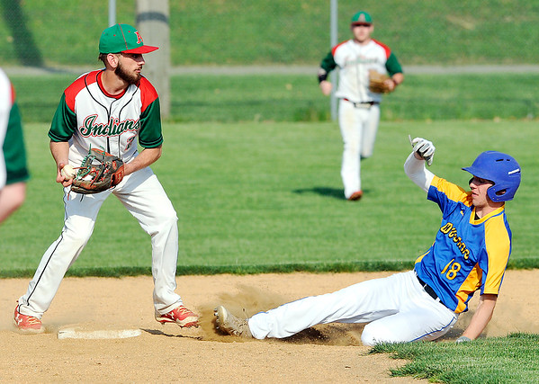 John P. Cleary   The Herald Bulletin<br /> Anderson's Brayden Waymire turns to throw to first as Greenfield-Central's Dawson Davis slides into second in an attempted double play in the second inning. The running at first was called safe on the play.