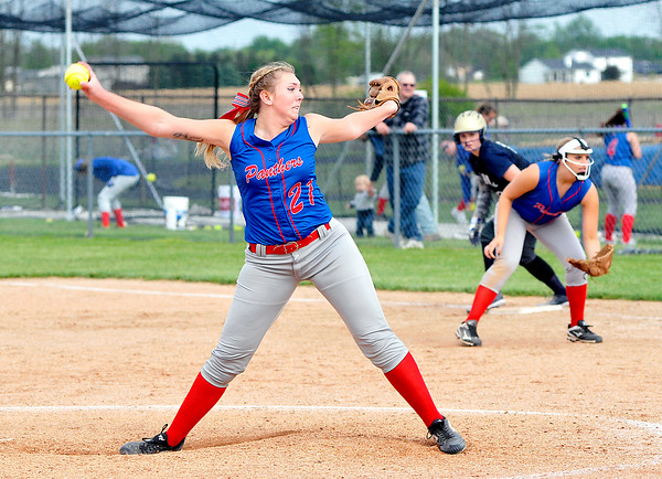 John P. Cleary | The Herald Bulletin<br /> Elwood pitcher Mackenzie Bryan lets go with a pitch after Oak Hill's only base runner reached base in the 5th inning. Bryan  pitched a one hitter with no walks and 14 strikeouts.