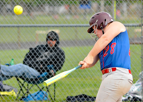 John P. Cleary | The Herald Bulletin<br /> Elwood's Haley Jetty hits her second double of the game against Oak Hill as well as hitting a 2-run homer and having 5 RBI's.