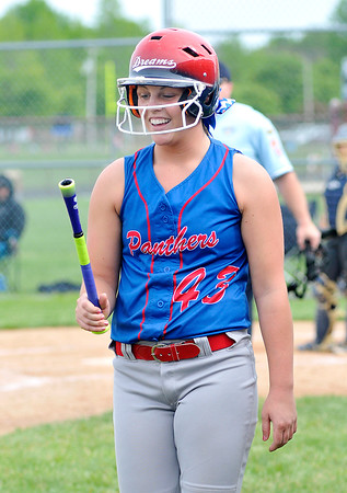 John P. Cleary | The Herald Bulletin<br /> Elwood's Taylor Noone looks at her bat handle after breaking her bat during their game against Oak Hill.