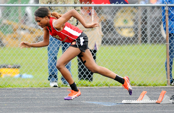 Don Knight | The Herald Bulletin<br /> Liberty Christian's Monica Watkins wins the 400 meter dash during the girls track sectional at Pendleton Heights on Tuesday.