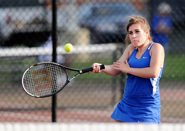 Don Knight   The Herald Bulletin<br /> Elwood faced Anderson in the first round of the tennis sectional at Highland Middle School on Wednesday.