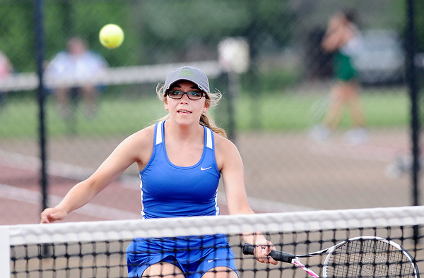 Don Knight | The Herald Bulletin<br /> Elwood faced Anderson in the first round of the tennis sectional at Highland Middle School on Wednesday.