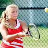 John P. Cleary |  The Herald Bulletin<br /> Frankton's #3 singles player Meggan Needler returns a shot during her match against Alexandria in sectional play Thursday.