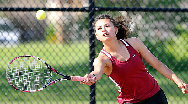 John P. Cleary |  The Herald Bulletin<br /> Alexandria's #2 singles player Alexa Jimenez returns a shot during her match against Frankton in sectional play Thursday.