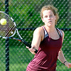 John P. Cleary |  The Herald Bulletin<br /> Alexandria's #1 singles player Blaine Kelly returns a shot during her match against Frankton in sectional play Thursday.