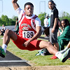 "John P. Cleary | The Herald Bulletin<br /> Anderson's Tynelius Morrow makes his long jump with a distance of 21' 9"" to win the Mt. Vernon sectional."