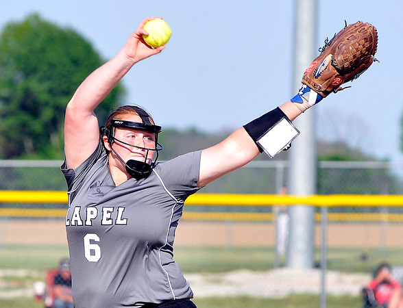 John P. Cleary | The Herald Bulletin Lapel's Brooke Daniels pitched a complete shutout game against Frankton in sectional play Monday.