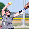 John P. Cleary | The Herald Bulletin<br /> Lapel's Brooke Daniels pitched a complete shutout game against Frankton in sectional play Monday.