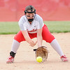 Don Knight | The Herald Bulletin<br /> Frankton's Maddie Granger fields the ball as the Eagles hosted Lapel in the Sectional 40 semifinal on Tuesday.