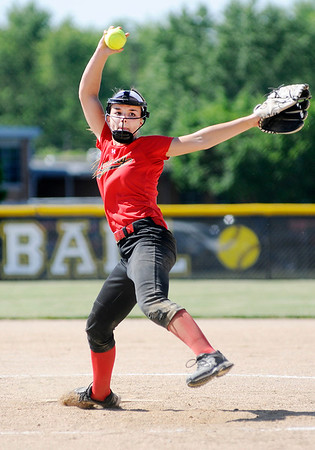 Don Knight   The Herald Bulletin<br /> Liberty Christian's Alayna Thomas pitches for the Lions as they faced Southern Wells in the sectional at Daleville on Wednesday.