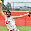 Frankton's Adyson Coppess fires the ball to the plate as she pitched a complete game win against Elwood Thursday.
