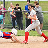 Elwood's Kaylee Guillemette gets doubled off first base for the game ending out to give Frankton a 3-1 victory and the sectional championship.