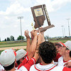 John P. Cleary | The Herald Bulletin<br /> Frankton players raise the sectional championship trophy after defeating Lapel 4-2 for the win.
